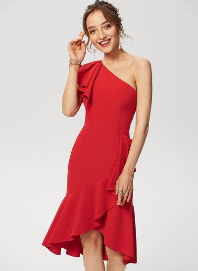 Syrena Na jedno ramię Asymetryczny Elastyczna Krepa Sukienki Koktajlowe Z Ruffles kaskadowe