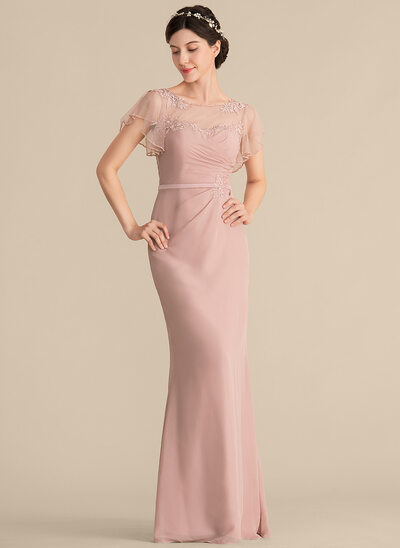 Sheath/Column Scoop Neck Floor-Length Chiffon Evening Dress With Beading Appliques Lace Sequins