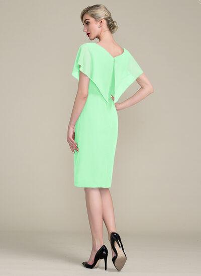 Платье-чехол V-образный Длина до колен шифон Платье Для Матери Невесты с Рябь