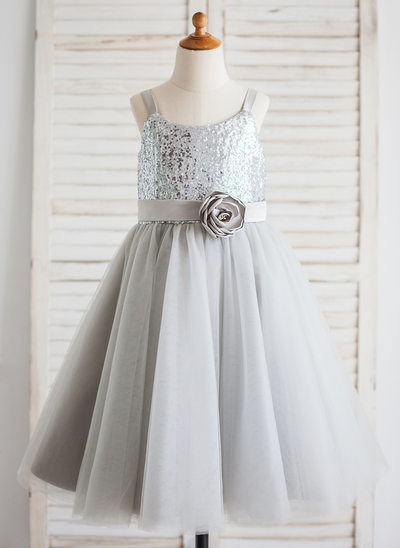Çan/Prenses Uzun Etekli Çiçek Kız Elbise - Tül/Sequined Kolsuz Yuvarlak Yaka Ile Çiçek(ler)