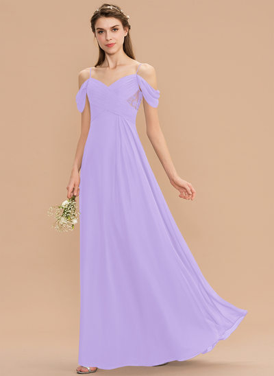 Corte A Decote V Longos Tecido de seda Renda Vestido de madrinha com Pregueado
