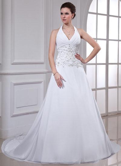 Princesový Ohlávka Kostelní vlečka Šifón Svatební šaty S Vyšívané Zdobení korálky flitry