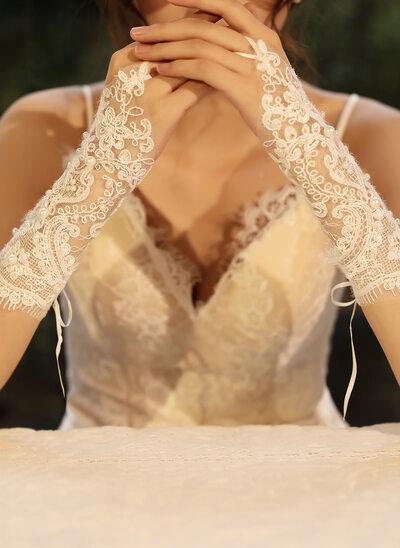 Tyll/Blonder Elbow Lengde Brude Hansker med Imitert Perle
