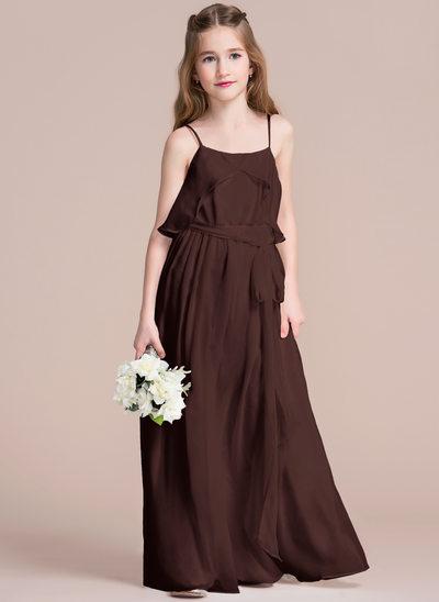 Vestidos princesa/ Formato A Decote redondo Longos Tecido de seda Vestido de daminha júnior com Pregueado Curvado