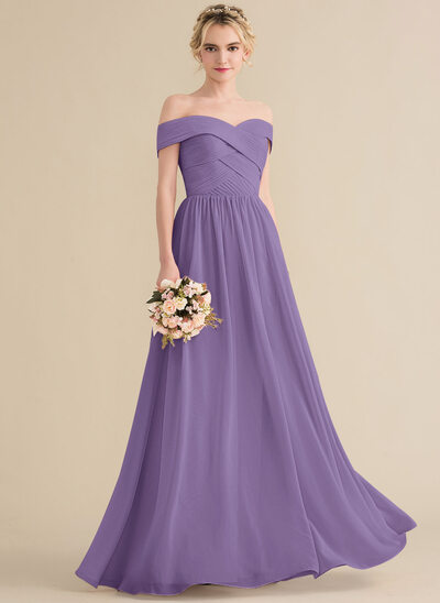 A-Line/Princess Off-the-Shoulder Floor-Length Chiffon Bridesmaid Dress With Ruffle