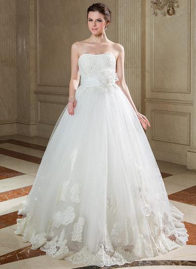 Duchesse-Linie Herzausschnitt Sweep/Pinsel zug Taft Tüll Brautkleid mit Rüschen Spitze Perlen verziert Pailletten