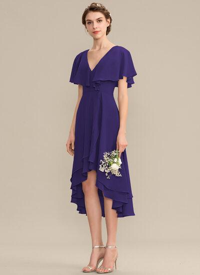 Трапеция V-образный асимметричный шифон Платье Подружки Невесты