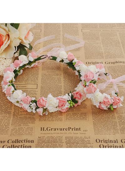 Foam With Ribbon Flower Headband ( Including Wrist Corsage)