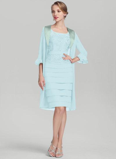 Tubo Decote redondo Coquetel Tecido de seda Renda Vestido para a mãe da noiva com Pregueado