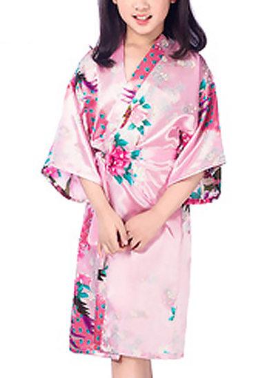 Blume Mädchen Polyester mit Knielang Blumenroben Kimono-Roben