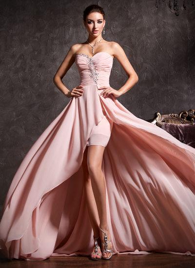 Corte A Novio Asimétrico Gasa Vestido de baile de promoción