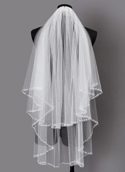 Zweischichtig Perlenbesetzter Saum Ellenbogen Braut Schleier mit Pailletten