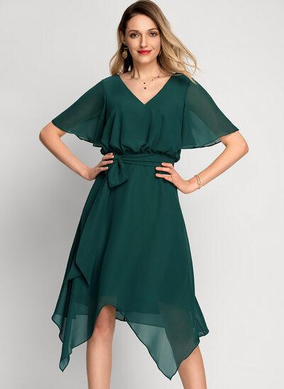 Corte A Decote V Assimétrico Tecido de seda Vestido de cocktail