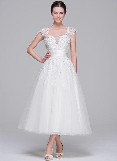 De baile Amada Comprimento médio Tule Vestido de noiva com Pregueado Beading Apliques de Renda lantejoulas