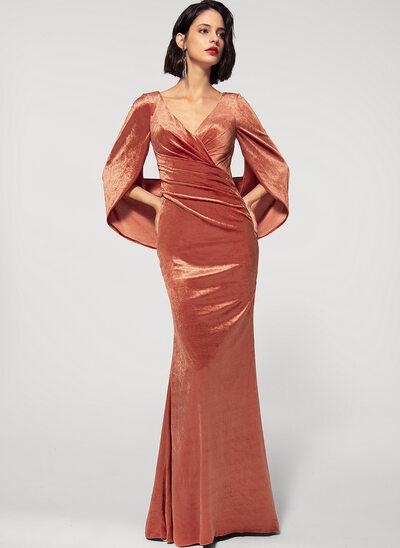 Платье-чехол V-образный Длина до пола бархат Вечерние Платье