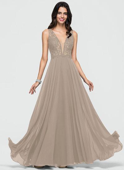 A-Line/Princess V-neck Floor-Length Chiffon Prom Dresses With Beading Sequins