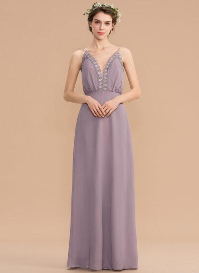 Corte A Decote V Longos Tecido de seda Vestido de madrinha com Renda