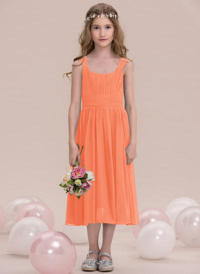 Vestidos princesa/ Formato A Decote quadrado Comprimento médio Tecido de seda Vestido de daminha júnior com Pregueado