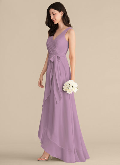 Vestidos princesa/ Formato A Decote V Assimétrico Tecido de seda Vestido de baile com Pregueado Curvado