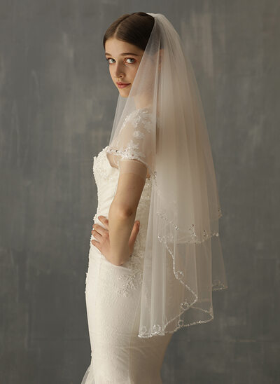 Two-tier Beaded Edge Elbow Bridal Veils