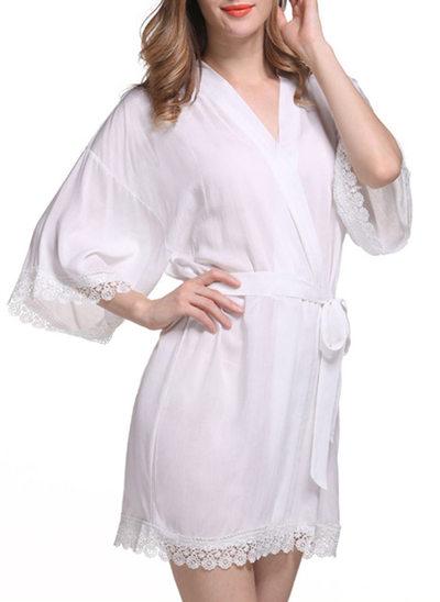 Braut Brautjungfern Baumwolle mit Kurz Roben aus Satin und Spitze