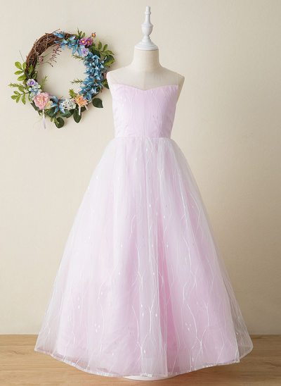 A-Line Floor-length Flower Girl Dress - Tulle Sleeveless High Neck With Beading/Bow(s)