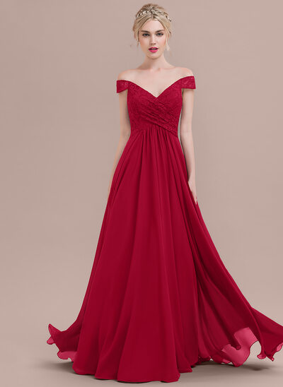 A-Line/Princess Off-the-Shoulder Floor-Length Chiffon Lace Evening Dress With Ruffle