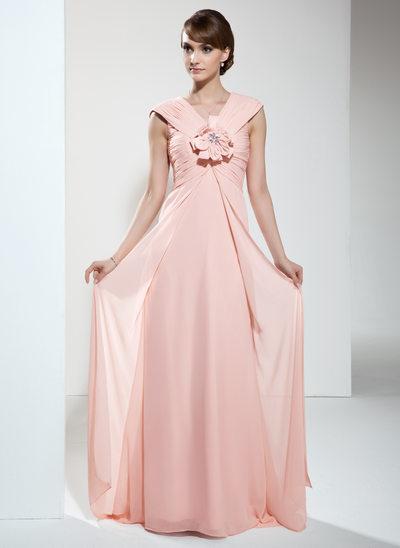 Yüksek Bel V Yaka Kuyruklu Chiffon Gelin Annesi Elbisesi Ile Büzgü Çiçek(ler)