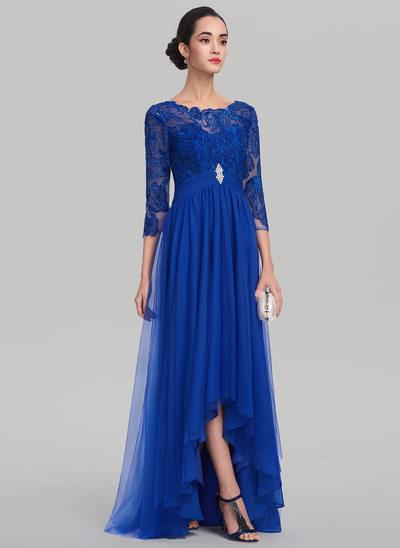 Corte A/Princesa Escote redondo Asimétrico Tul Vestido de baile de promoción con Volantes Cuentas