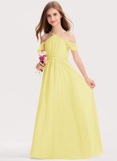 A-Line V-neck Floor-Length Chiffon Junior Bridesmaid Dress With Ruffle Bow(s)