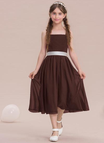 Vestidos princesa/ Formato A Decote quadrado Comprimento médio Tecido de seda Vestido de daminha júnior com Curvado