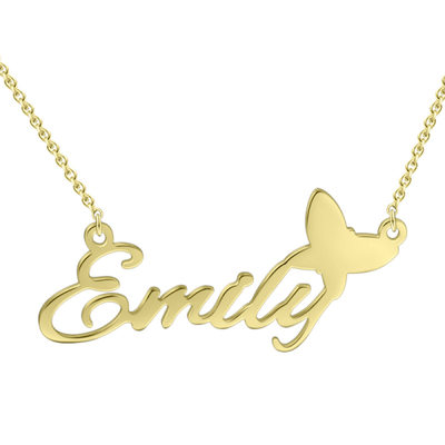 Christmas Gifts For Her - Custom 18k Gold Plated Silver Name Necklace With Butterfly
