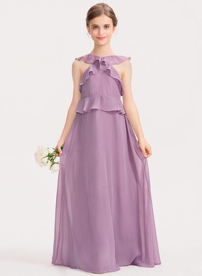A-Linie U-Ausschnitt Bodenlang Chiffon Kleid für junge Brautjungfern mit Gestufte Rüschen