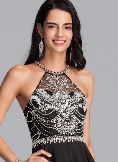 Corte A Decote redondo Curto/Mini Tecido de seda Vestido de boas vindas com Beading lantejoulas