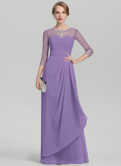 A-Line/Princess Scoop Neck Floor-Length Chiffon Mother of the Bride Dress With Beading Sequins Cascading Ruffles