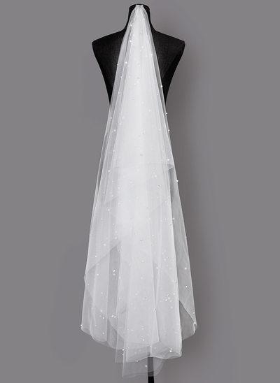 Einschichtig Schnittkante Fingerspitze Braut Schleier mit Faux-Perlen
