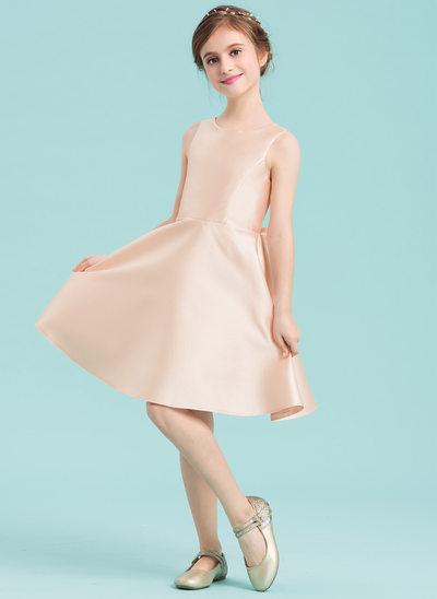 A-Linie/Princess-Linie U-Ausschnitt Knielang Satin Kleid für junge Brautjungfern mit Schleife(n)