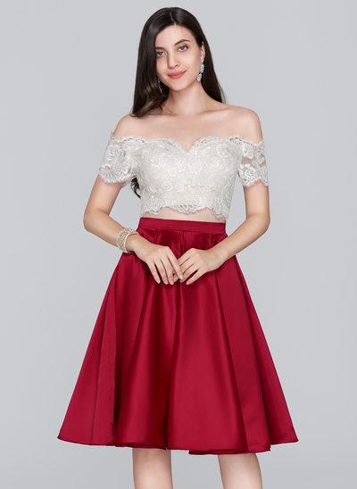 Forme Princesse Hors-la-épaule Longueur genou Satiné Robe de soirée étudiante