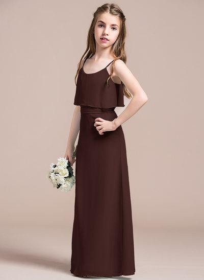 Corte A Decote redondo Longos Tecido de seda Vestido de daminha júnior com Curvado