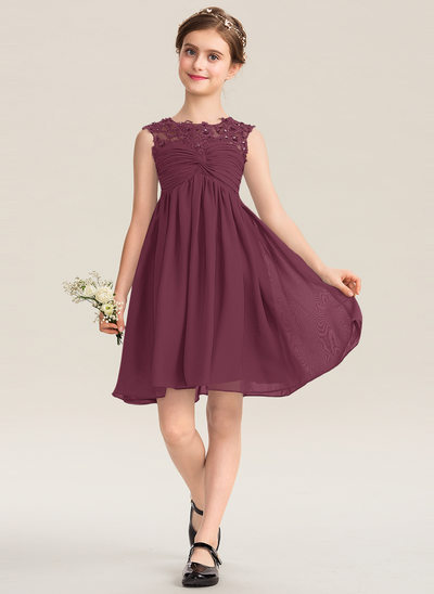 A-Line Scoop Neck Knee-Length Chiffon Lace Junior Bridesmaid Dress With Ruffle Beading Sequins