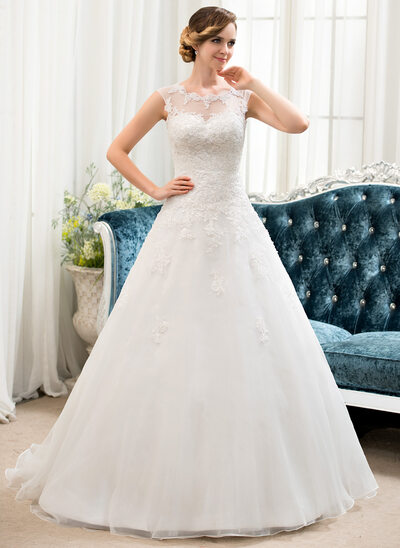 Ball-Gown Scoop Neck Sweep Train Organza Tulle Wedding Dress With Beading Sequins
