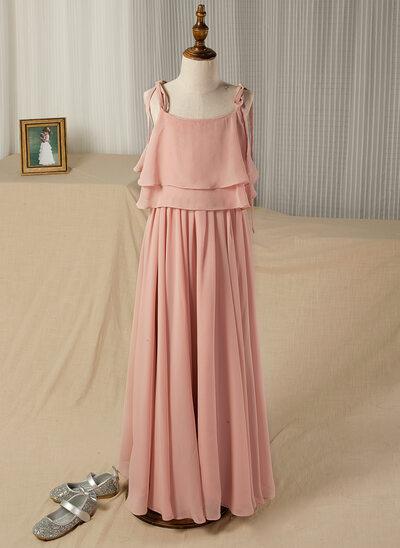 Forme Princesse Longueur ras du sol Robes à Fleurs pour Filles - Mousseline Sans manches Encolure carrée/Bretelles avec Plissé