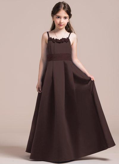 Vestidos princesa/ Formato A Decote redondo Longos Cetim Vestido de daminha júnior com Pregueado fecho de correr Curvado