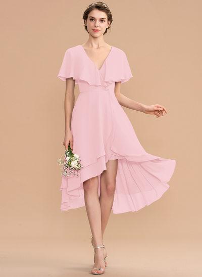 Corte A Decote V Assimétrico Tecido de seda Vestido de madrinha