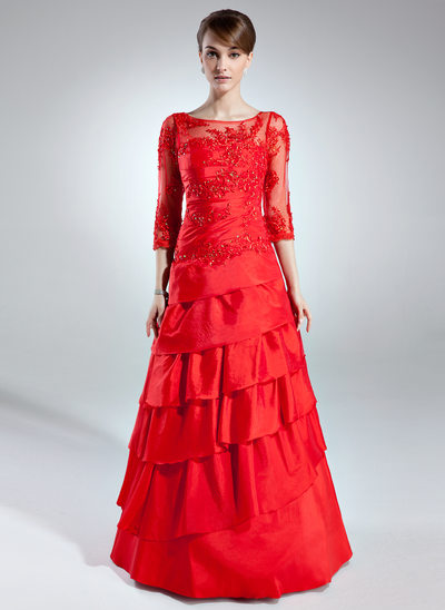 A-Linie/Princess-Linie U-Ausschnitt Bodenlang Taft Kleid für die Brautmutter mit Spitze Perlen verziert Gestufte Rüschen