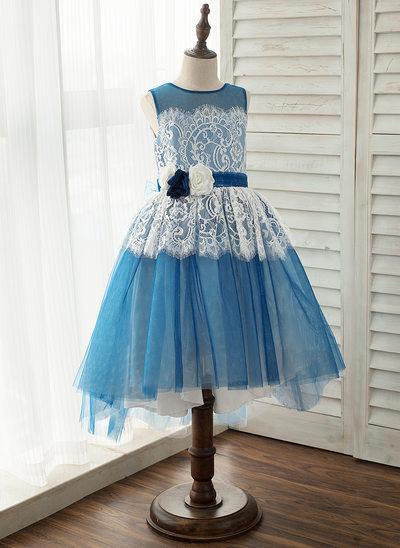 Linia A/Księżniczka Asymetryczny Sukienka dla Dziewczynki Sypiącej Kwiaty - Tiul/Koronka Bez Rękawów Okrągły/ głęboko wycięty Z Kwiat(y)
