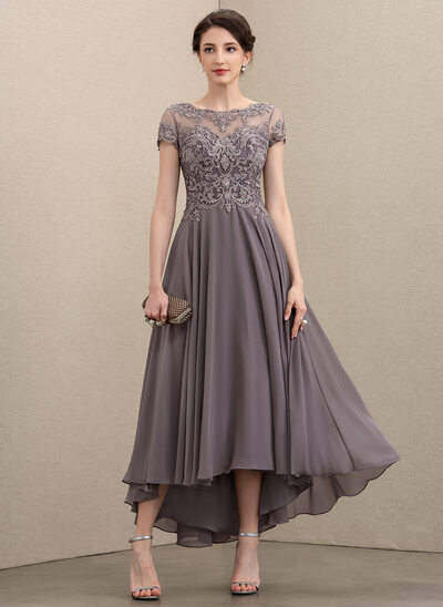 A-Line Scoop Neck Asymmetrical Chiffon Lace Evening Dress With Beading Sequins
