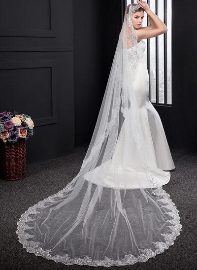 Einschichtig Spitze Saum Kapelle Braut Schleier mit Lace