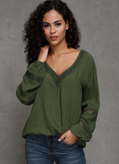 Solid Long Sleeves Polyester V Neck Knit Blouses