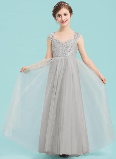 A-linjainen/Prinsessa Kultaseni Lattiaa hipova pituus Tylli Nuorten morsiusneito mekko